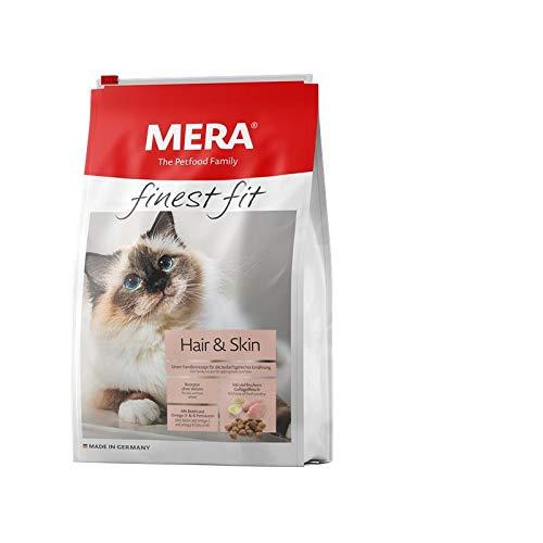 MERA finest fit Hair & Skin Katzenfutter – Weizenfreies Trockenfutter mit frischem Geflügel für Katzen mit Haut- und Fellproblemen