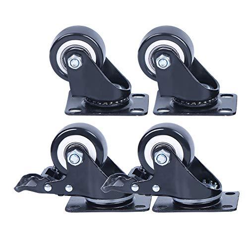 CASTOR 4 Ruedas giratorias móviles con Frenos Ruedas de Goma PU Capacidad de Carga 40 kg Cada una Ruedas giratorias de Servicio Pesado para Carrito de Ruedas de Muebles