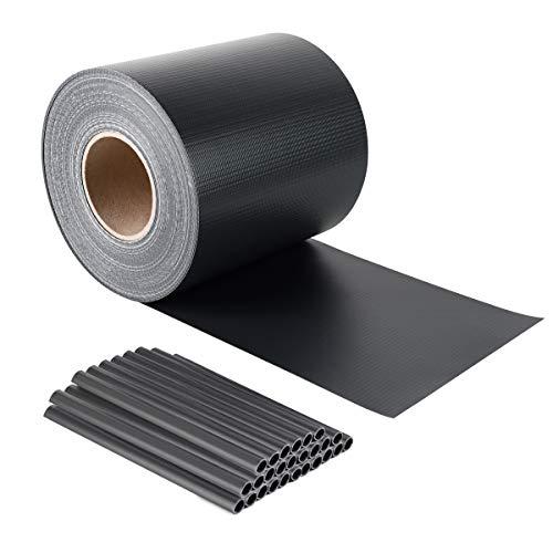 Sekey Premium PVC Sichtschutzstreifen - Blickdichte Zaunfolie - Windschutz - Wetterfeste Sichtschutzrolle - Privatsphäre garantiert - Anti-Fading - Anthrazit - 19 cm x 50 m - Anthrazit