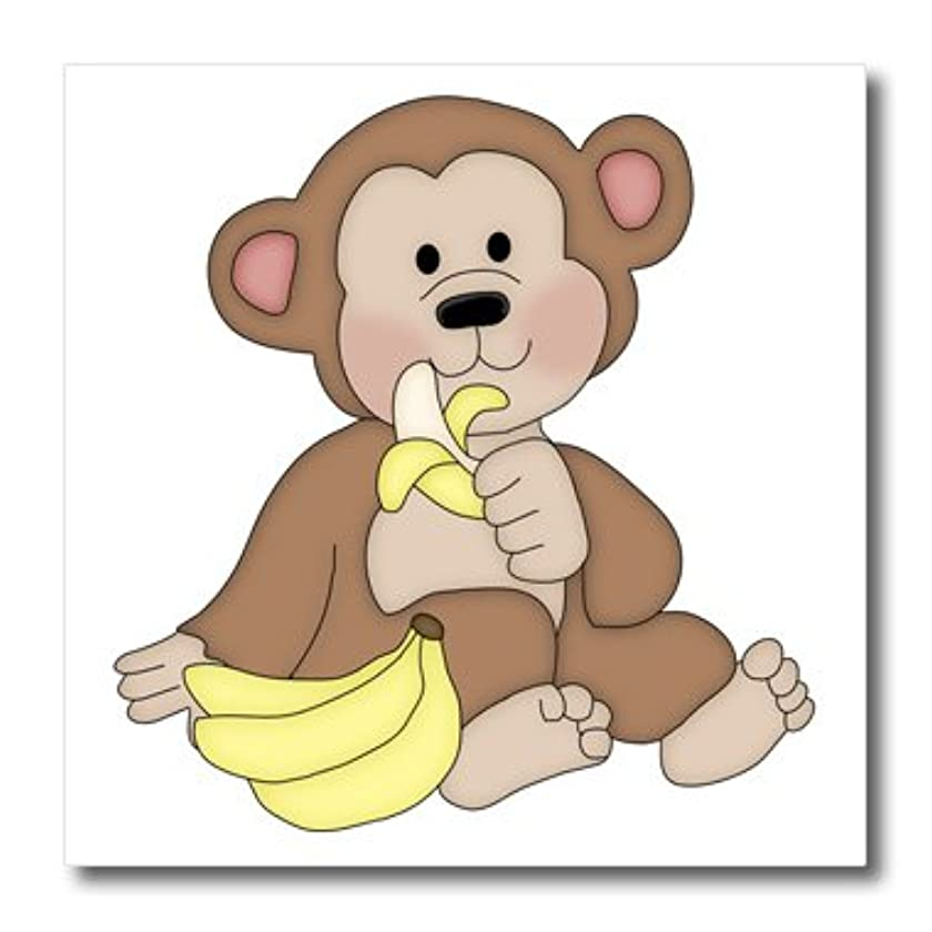 3dRose Cute Monkey with A Banana Illustration-Iron on Heat Transfer, 6 by 6