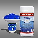 Paradies Pool Dosierschwimmer klein 12,5 cm + 1kg Super Chlortabs 20g, Seerose, schnell löslich, zur Desinfektion von kleineren Schwimmingpools