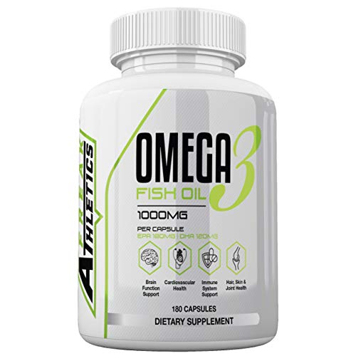 Omega 3 Fish Oil 1000mg Double Strength EPA & DHA Softgel Capsules - 180 Capsules Suitable for Both Men & Women - Made in The UK High Quality Guaranteed