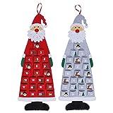 ABOOFAN 1 Set 2Pcs 2021 Filz Weihnachtsbaum Anhänger Kalender (Rot Grau) Party Favor