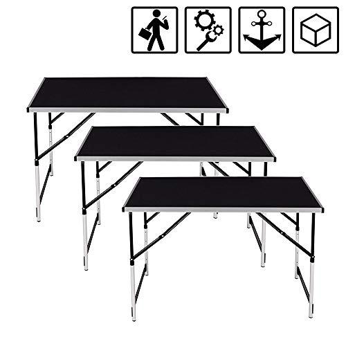 Froadp 3-teilig Klappbar Tapeziertisch mit 4-Fach Höhenverstellbar - Campingtisch Flexibel kombinieren 100 x 60 cm als Multifunktionstisch, Picknicktisch, Serviertisch