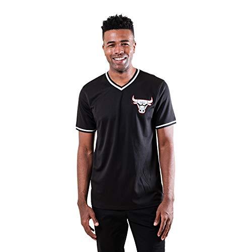 Ultra Game NBA Chicago Bulls Mens Jersey V-Neck Mesh Short Sleeve Tee Shirt, Black, Large