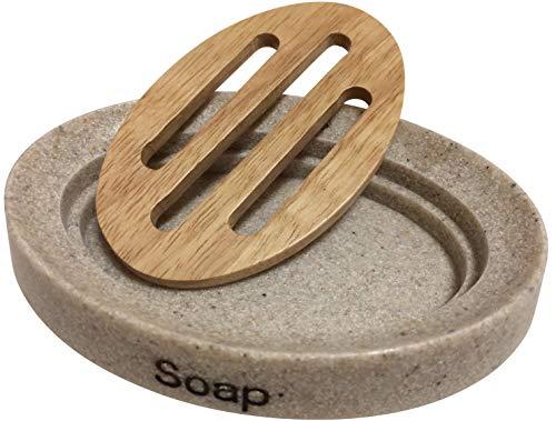 Mr. Leon Seifenschale Holz mit Abtropfwanne I Moderne Seifenablage für Bad und Küche