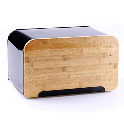 DecoKing 51481 Brotkasten aus Carbonstahl mit integriertem Bambusdeckel als Schneidebrett hochwertige aromadichte Brotbox Schwarz Rio