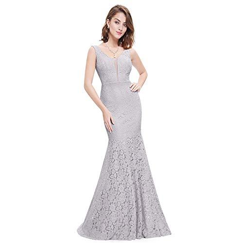 WML-Hochzeitskleid Plus Size Ever Pretty Korsett Lace Mermaid Brautkleider Einfache Elegante Brautkleider for die Braut Kleid (Color : Gray, US Size : 10)