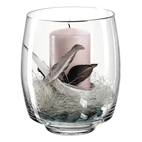 Leonardo Milano Windlicht mit Kerze und Deko, handgefertigter Teelicht-Halter, Kerzen-Halter aus Glas, Höhe: 206 mm, 012982