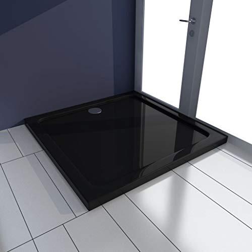FAMIROSA Plato de Ducha Cuadrado de ABS Negro 80x80 cm