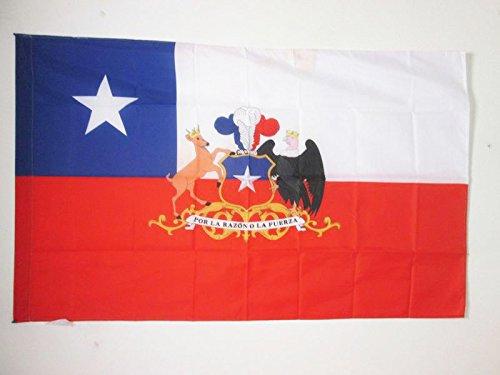 AZ FLAG Flagge Chile MIT Waffen 90x60cm - CHILENISCHE Fahne 60 x 90 cm Scheide für Mast - flaggen Top Qualität