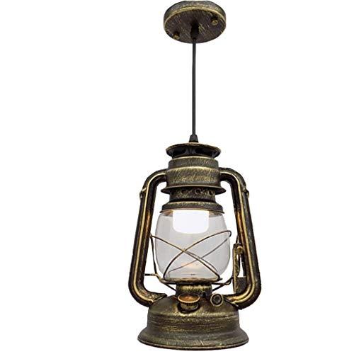 YIKE-Laternen Vintage Kronleuchter/Petroleumlampe, Glas LED Retro Lampe Dekoration Beleuchtung, Geeignet für Wohnzimmer, Studie, Restaurant, Bar (Draht hängend)