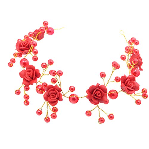 Amosfun Diadema de Perlas Arcilla Polimérica Suave Flor de Rosa Corona de...