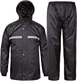 SWISSWELL Men's Rain Jacket & Pants Waterproof Foul Weather Rainwear for Cycling Hiking Travel ( Heavy Black Rainsuit , Large (suitable for L or XL) )