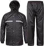 SWISSWELL Men's Rain Suit Lightweight Waterproof Rainwear (Jacket & Trouser Suit) (Heavy Black Rainsuit, Small(Suitable for S or M))