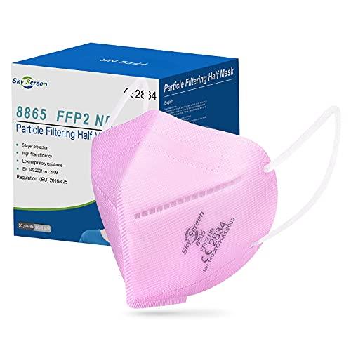 Rousig FFP2 Maske CE Zertifiziert Rosa 5-lagige 30 Stück FFP2 Maske Rosa Maske Atemschutzmaske Mund und Nasenschutz