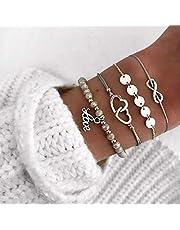 Edary Boho armband grått hjärtarmband set paljetter hand kedja pärlband fest armband strand hand smycken accessoarer för kvinnor och flickor (4 Psc)