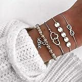 Simsly Juego de 4 pulseras de abalorios de plata con forma de corazón y lentejuelas, ajustable, para mujeres y niñas
