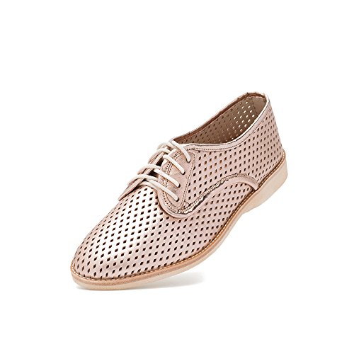 Rollie Women's Derby Punch Rose Gold, Perforated Leather Oxfords Metallic Flat Shoes for Women with Holes Perforations, Size 8 US / 39 EU