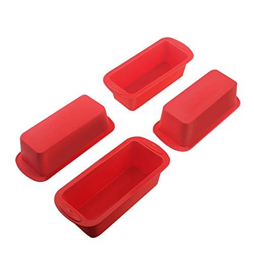 SILIVO Silikon Mini Kastenform und Brotbackform - 4er Set - Kastenform Antihaftende Mini Silikon Backform für Kuchen und Brote - 14x6x5cm