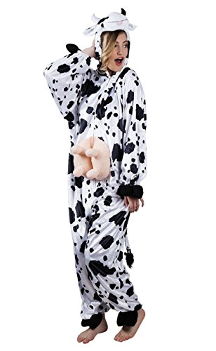 Boland 88003 - Erwachsenenkostüm Kuh aus Plüsch ca. 180 cm, Kapuzen-Overall, Tiermotiv, Reisverschluss vorne,Taschen, Bauernhof, Kuh, Bauer, Karneval, Fasching, Mottoparty, Verkleidung, Theater