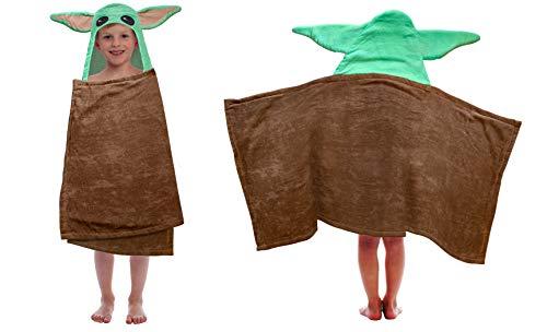 Disney Star Wars Mandalorian Baby Yoda - Toalla de baño con capucha y orejas