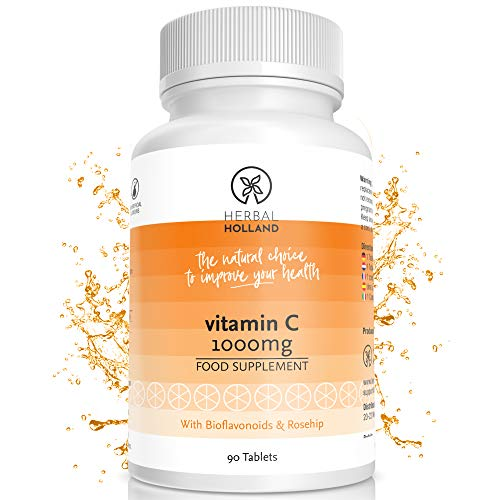 Herbal Holland Vitamin C 1000mg Tablets – Vegan & Gluten Free Vitamin C Supplement with Bioflavonoids & Rosehip for Enhanced Immune System, Healthy Bones, Skin & Collagen Production – 90 Tablets