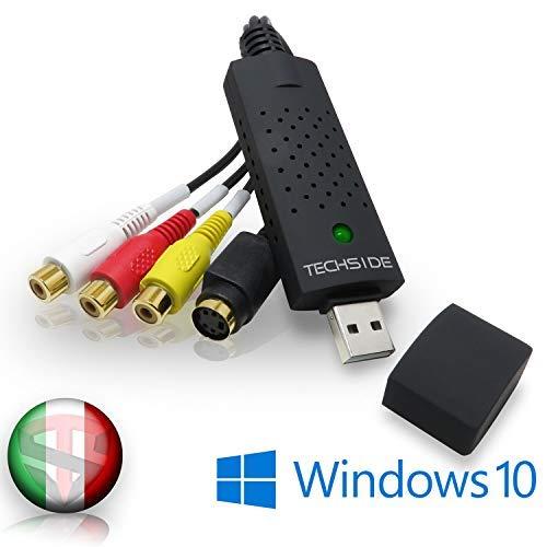 TechSide Convertitore VHS contatti Dorati   Analogico Digitale   Compatibile con Windows 10 + Nuovo Software 2020   USB 2.0 Audio/Video Grabber Capture  Converti in Formato Digitale Le Vecchie VHS