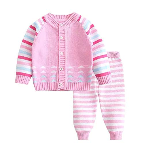 Baby-Mädchen Strickpullover Warme Strickjacke Mantel, Strickmuster for Baby-Cardigan, Double Stricke, 100% Baumwolle (Color : 5, Size : 66cm)