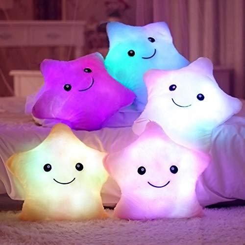 Cojin Infantil con Luces LED para Ñiños y Niñas con Forma de Estrella 29cm...
