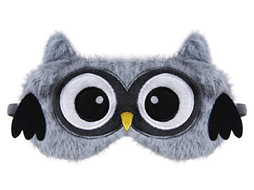 dressfan Tier Eule Schlafmaske Kinder Frauen Mädchen Süße Plüsch 3D Cartoon Augenmaske Seide Schattierung Augenbinde Nachtmaske Tragbarer für Reisen Nickerchen,Grau
