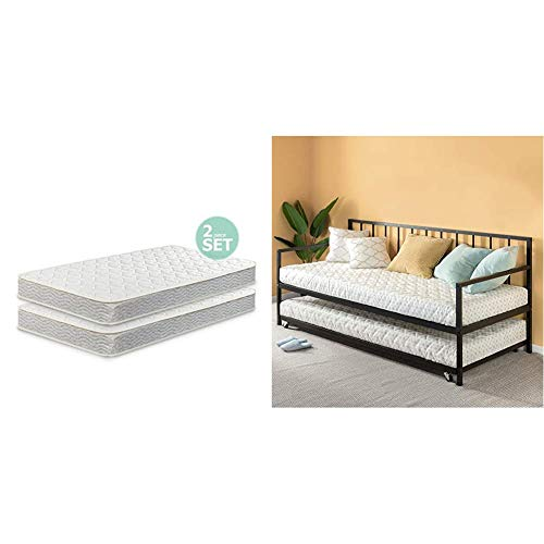 Zinus 6 Inch Spring Twin Mattress (Set of 2) with Eden Twin Daybed and Trundle Set/Premium Steel Slat Support/Daybed and Roll Out Trundle