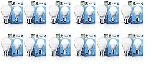 Wipro Tejas Base B22 9-Watt LED Bulb (Pack of 12, Cool Day...