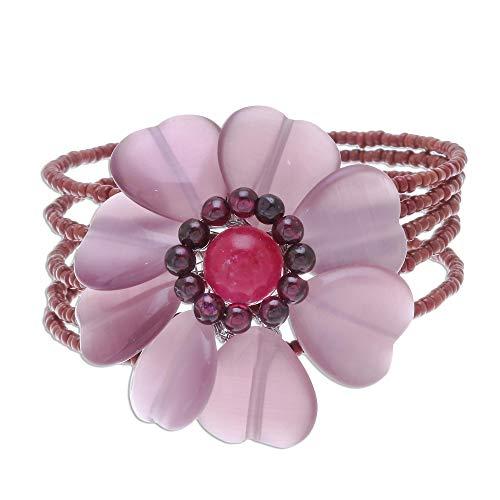 NOVICA Multi-Gem Garnet Stainless Steel Cuff Bracelet, Garnet Blossom