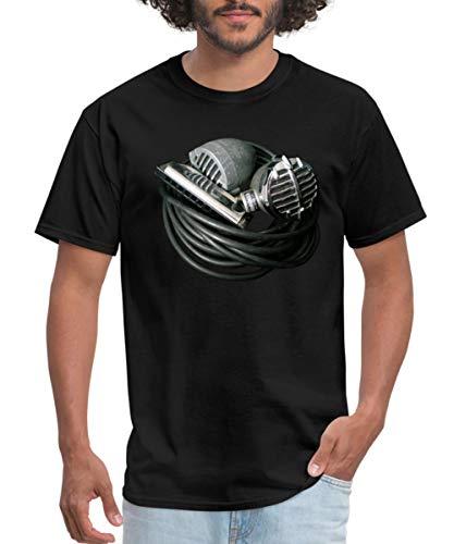 Harmonica Vintage Bullet Mics Men's T-Shirt, L, Black
