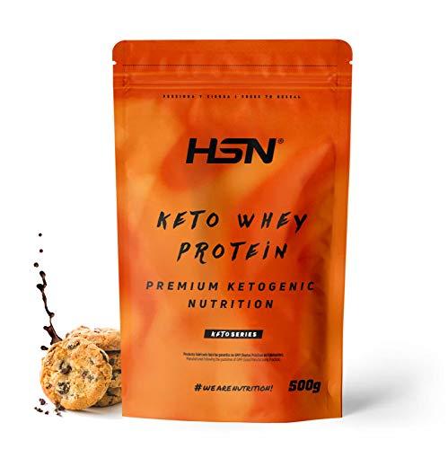 Keto-Molkenprotein | CFM-Molkenisolat + Kokosnuss-MCT-Öl + Verdauungsenzyme Digezym | Grasgefüttert | Geeignet für Vegetarier, glutenfrei, Kekse mit Schokoladengeschmack, 500 gr