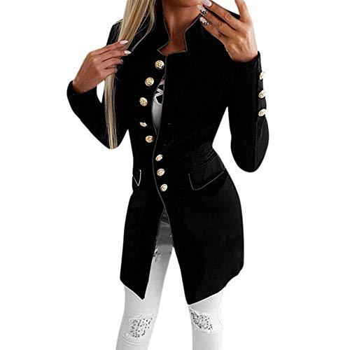 Geili Damen Blazer Elegante Langarm Slim Fit Einreihiger Anzugjacke mit Stehkragen Business Büro Jersey Jäckchen Anzug Mode Langblazer Mantel Jacke Cardigan Oberteil für Frauen