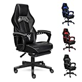 ELECWISH Ergonomic Computer Gaming Chair, Large Size PU Leather High Back Office Racing Chairs with Widen Thicken Seat and Retractable Footrest and Lumbar Support Video Game Chair (Grey(Muscle Grain))