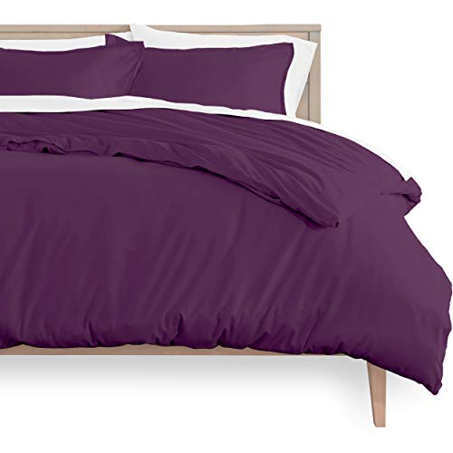 Bare Home Duvet Cover and Sham Set - Queen Size - Premium 1800 Ultra-Soft Brushed Microfiber - Hypoallergenic, Easy Care, Wrinkle Resistant (Queen, Plum)