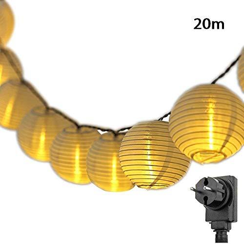 SALCAR 20m LED Lampion Lichterkette Außen, 80er LED Lichterketten Gartenlaterne Deko + 3m 31V Sicherheitsnetzteil - Warmweiß