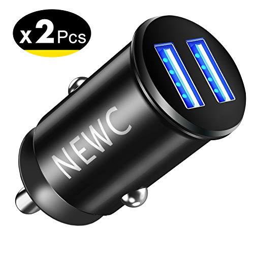 NEW'C Lot de 2 Mini Chargeur Voiture Allume Cigare USB 2 Ports,Technologie AiPower Compatible pour iPhone 8/X/7/6s/6/Plus/X/XS/XR, Samsung Galaxy S10/S9/S8/S7/S6/Edge/NOTE/Plus, Smartphone,Tablette