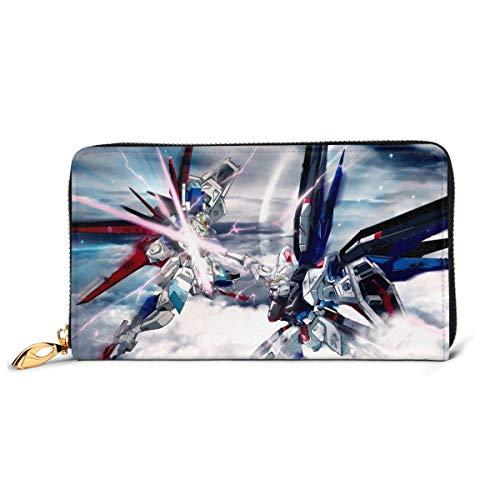 XCNGG Mobiler Anzug Gundam Wallet Blocking Echtes Leder Wallets Double Zip Wallet Organizer Clutch Bag Kreditkartenhalter Große Kapazität Geldbörse Handytasche Für Männer Frauen