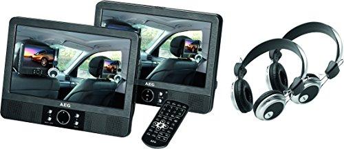 AEG DVD 4556 portabler DVD-Player mit 2X 22,9 cm (9 Zoll) LCD-Monitor, USB-Port, Card Slot, Fernbedienung, 2X Kopfhörer schwarz