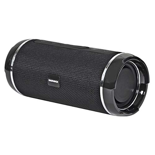 MAGNAVOX MMA3762-BK Portable Cylinder Stereo Speaker with Bluetooth Wireless Technology in Black | Horizontal Speaker | Built-in Rechargeable Battery | AUX Port Supported |