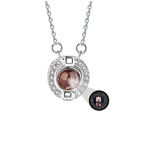 Collar personalizado 100 idiomas TE AMO Collar Collar con foto Collar de memoria de amor Collar de promesa para esposa(Plata a todo color 24)
