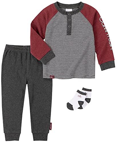 Calvin Klein Conjunto de pantalones de 2 piezas para bebés, 2 juegos de pantalones., Forever Blue/ Marshmallow/Stone Manor