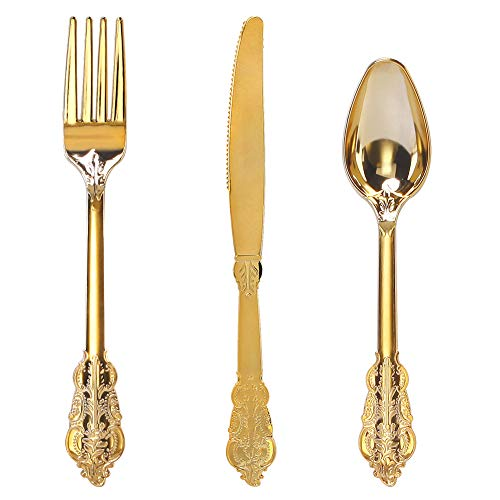 WDF-300 Pieces Gold Plastic Silverware- Disposable Flatware -Heavyweight Plastic Cutlery- Includes 100 Forks, 100 Spoons, 100 Knives