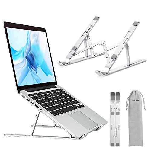 Bikien Supporto PC Portatile,Supporto per Laptop da Tavolo Pieghevole Regolabile con Raffreddamento,Supporto per Laptop Portatile In Alluminio Leggero per Macbook Air/Pro(Fino A 15,6 Pollici) Argento