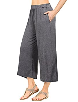 GlorySunshine Women s Elastic Waist Solid Palazzo Casual Wide Leg Pants with Pockets A-Gray XL