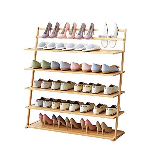 Zapatero Estante de zapatos para zapatos Estante de zapatos de bambú de 5 capas contra la pared,usado en el dormitorio sala de estar Corredor de calzado Cambio de zapatillas Organizador de zapatos Zap
